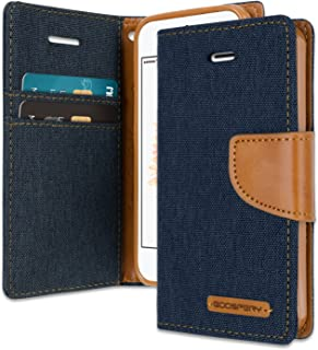 iPhone SE/5S/5 Wallet Case with Free 6 Gifts [Shockproof] GOOSPERY Canvas Diary Ver.Magnetic [Denim Material] Card Holder with Kickstand Flip Cover for Apple iPhoneSE 5S 5 - Navy, IP5-CAN/GF-NVY