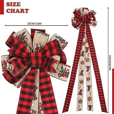 MTSCE Christmas Tree Topper, 57x 13 Inches Handmade Buffalo Plaid Christmas Decorations, Red Black Christmas Bow Topper, Rust