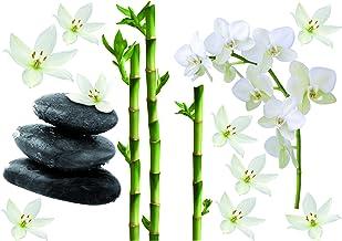 PLAGE 157170 decoratieve muursticker - bamboe en orchideeën, vinyl, groen, 29,7 x 0,1 x 21 cm