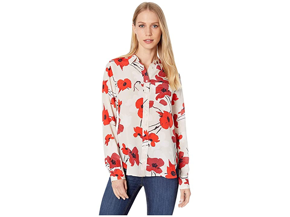 J.Crew Classic Fit Boy Shirt in Silk Poppy Print (Natural Cerise) Women's Clothing, Multi