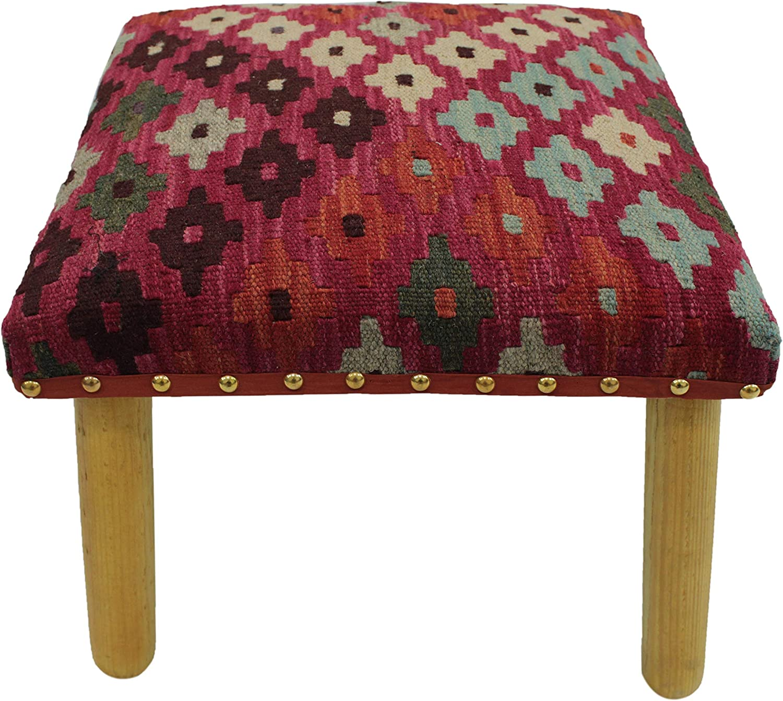 Arshs Centeno Pink Ivory Handmade Kilim Upholstered Bench