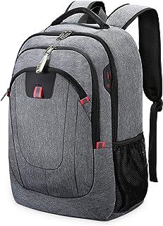 Mochila Antirrobo Impermeable, Mochila Portátil Hombre 17.3 Pulgadas USB Impermeable del Escolar Trabajo Diario Viaje Negocio Multifuncional Daypacks Gris