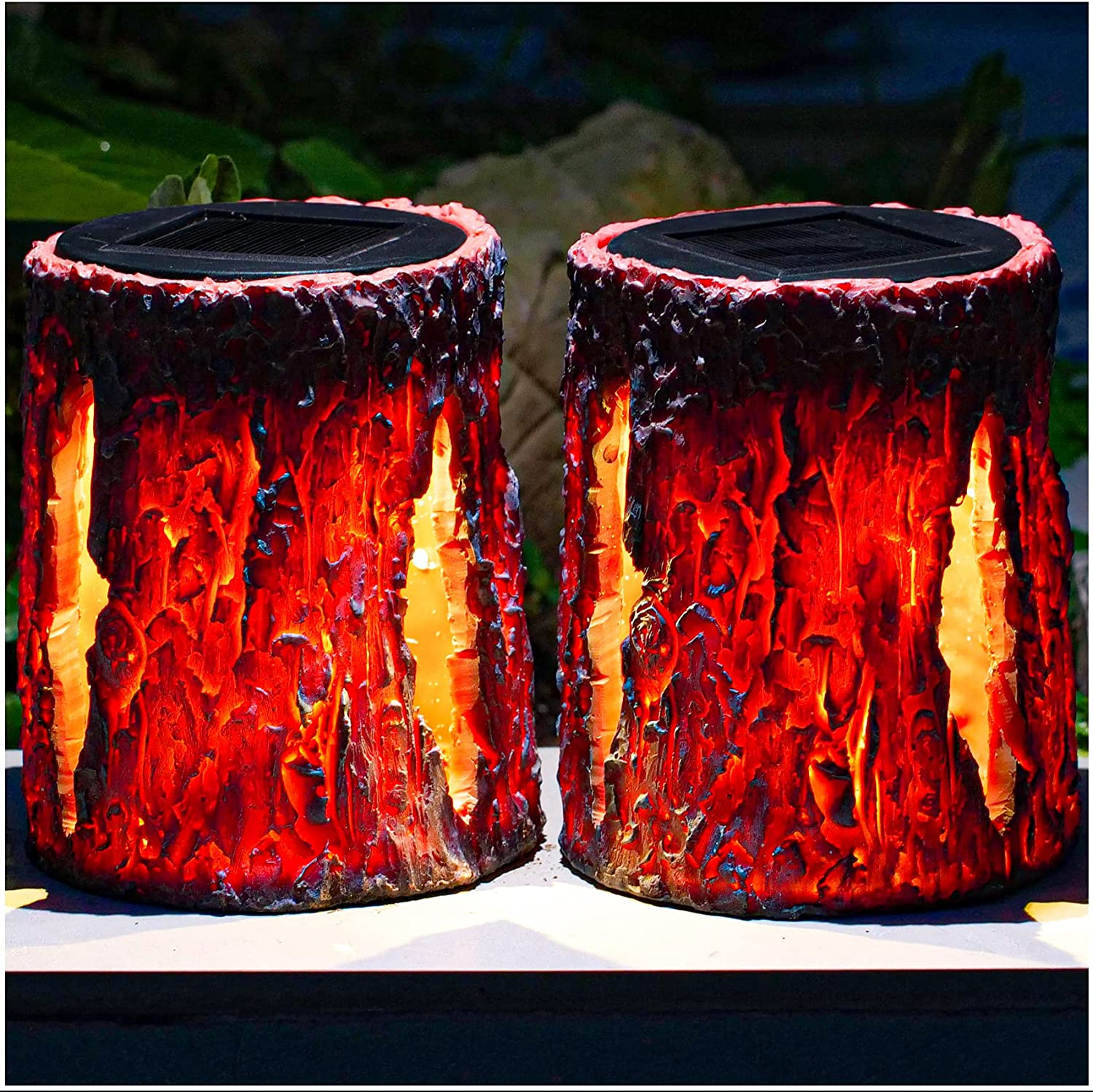 TONULAX Solar Lights Outdoor Genuine Free Shipping Stump Fire Selling rankings Upgraded