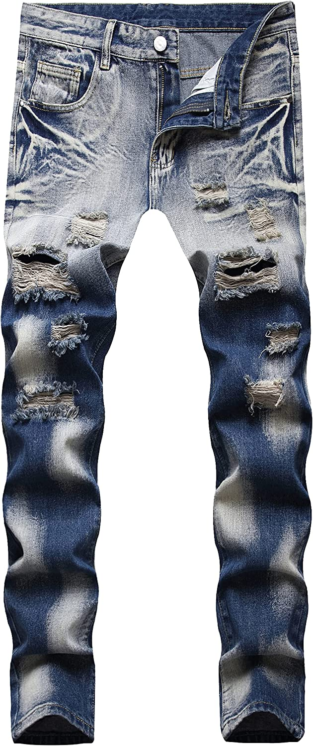 GZIENECC Limited time for free shipping Men Ripped Jeans Slim Fashion Fit Pant Distressed Denim High quality