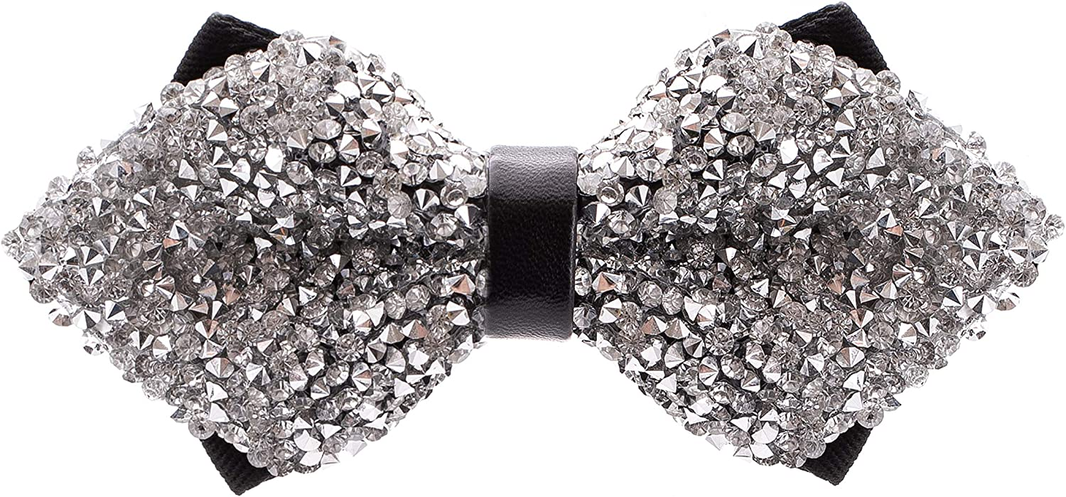 Rhinestone Diamond Tip Bow Ties - Pre Tied Sequin Bowties with Adjustable Length - Huge Variety Colors Available