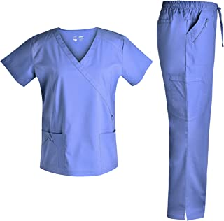 Women Scrubs Set Medical Scrubs - Pandamed Stretch scrubs Mock Wrap Scrubs top Scrubs Pants Multiple Pockets TCS3101