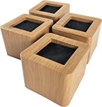 MIIX HOOM / Bed Risers 3 Inches | Heavy Duty Wooden Color Furniture Risers | 4PCS | Brown Sofa Couch Risers or Table Risers(Light Wood Color)