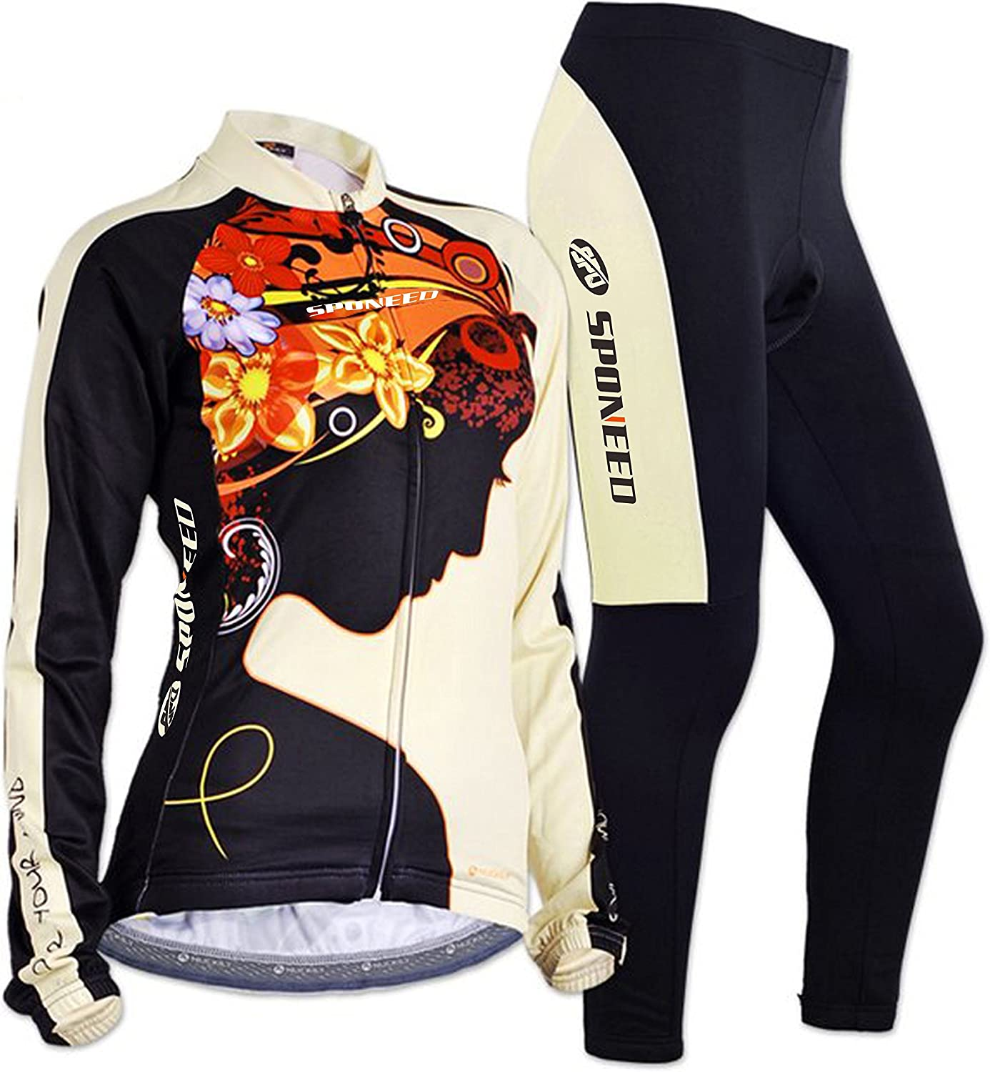 Sponeed Cycling Jersey Women colorful Long Sleeve Shirt Pants Set UV Predective