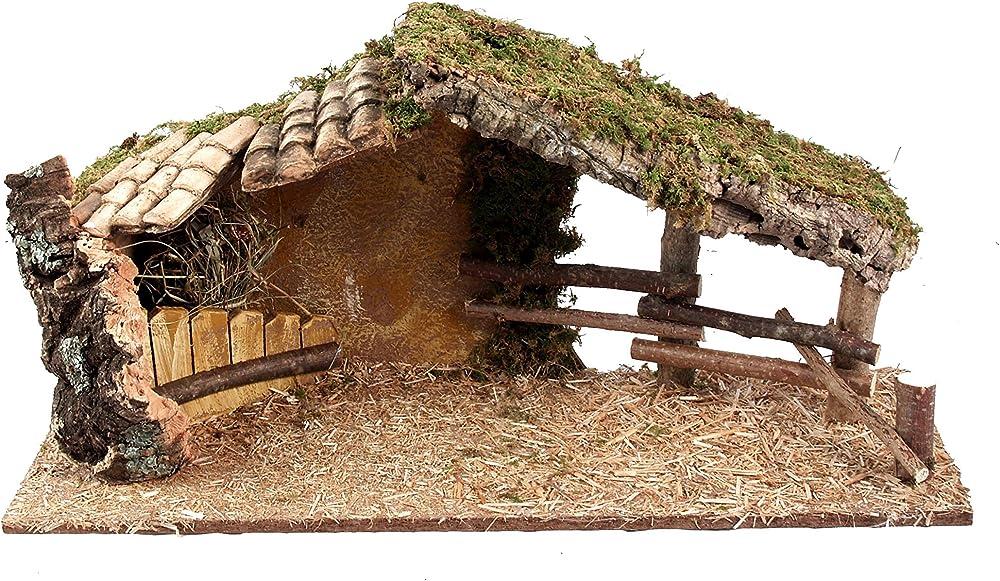 ferrari & arrighetti capanna con tettoia in tegole,paesaggio del presepe b30014