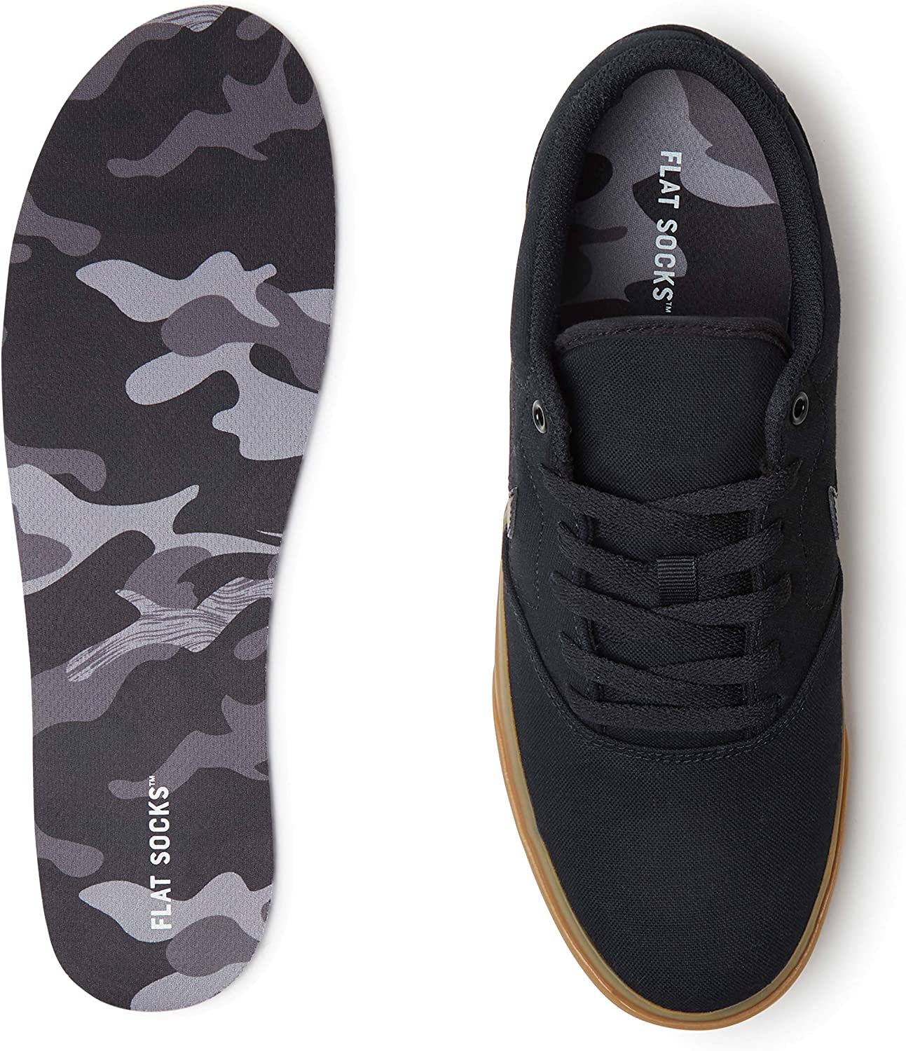 FLAT SOCKS - No Show Cushioned Trim to Fit Non Slip Sock, Mesh Material (Black Camo, Large)