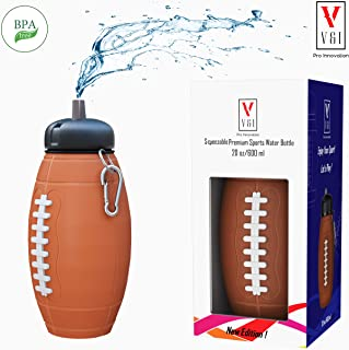 Kids Sports Football Water Bottle NFL Drinking Cup Ball Shaped Design 20 Oz School Reusable Squeezable Jug Shatterproof Leak Proof Compact Travel Mug Great Birthday Gift Cool Accessory