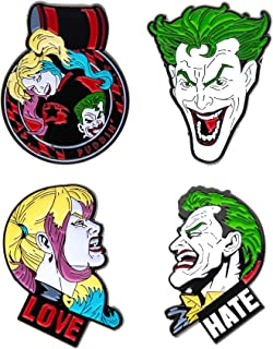 Unisex Adult Joker and Harley Quinn Face Enamel Lapel Pin Set (4 Piece), Multi Color, One Size