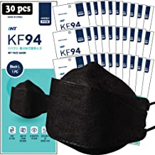 【 30 Pack 】 INT BLACK KF94 Certified, 4-Layered Face Safety, Patented Adjustable Earloop, FDA Registered Device, Individua...