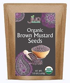 Jiva Organic Brown Mustard Seeds Whole 3.5 Pound Bulk Bag - Non-GMO Keto Friendly, Non-Irradiated