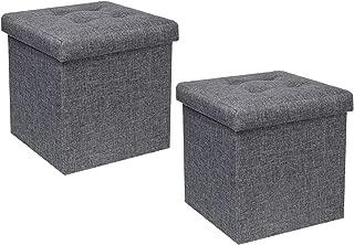 B FSOBEIIALEO Storage Ottoman Cube, Toy Chest Folding Footrest Stool Seat, Linen Grey 12.6