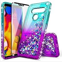 LG V35 ThinQ Case with 3D PET Soft Screen Protector for Girls Women, NageBee Glitter Bling Liquid Floating Quicksand Waterfall Sparkle Cute Case for LG V30 /V30s /V30+ /V30 Plus /V35 -Aqua/Purple