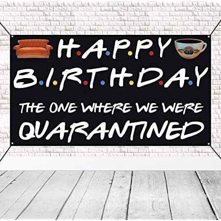 Super Cute The One Where We Were Quarantined Sign for Quarantine Birthday Decorations Happy Birthday Banner Backdrop