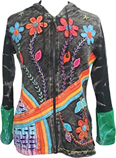 RJ 353 Agan Traders Women's Rib Cotton Rainbow Bohemian Distressed Hoodie Sweatshirts Jackets