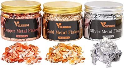 VGSEBA Gold Leaf Schabin Flakes-Gold Foil Metallic Flakes for Gilding, Arts and Crafts Projects, Nail Decorations, 5 Grams...