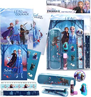 Disney Frozen All You Need for School Stationery Gifts Set - Pencils Eraser Notebook Case Ruler Folders for Back to The Pr...