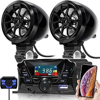 GoHawk TS3 Gen.2 Motorcycle Weatherproof Bluetooth Speakers 7/8-1 in. Handlebar Mount MP3 Music Player Sound Audio Stereo Amplifier System ATV UTV w/AUX in, USB, Micro SD, FM Radio, 2-Speaker