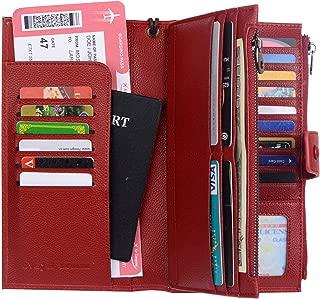 RFID Blocking Travel Wallet Leather Passport Holder Family Travel Document Organizer (Wine Red)