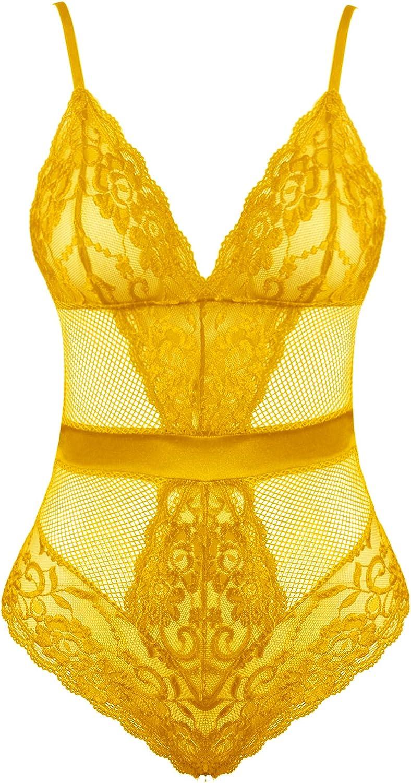 Joyaria Womens Sexy Lace Teddy Lingerie One Piece Bodysuit