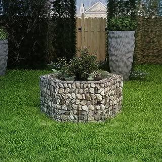Festnight Outdoor Garden Gabion Stone Basket Planter Raised Vegetable Bed,Steel Garden Decoration, Galvanized Steel 39.4