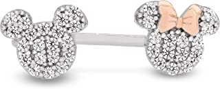 Disney Mickey and Minnie Mouse Sterling Silver Pave Cubic Zirconia Ring,