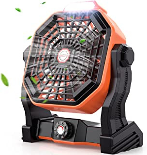 Mifanstech X20 Camping Fan with LED Lights, Portable USB Box Table Fan with (Type-C) Charging Wire for Room Office Bed Camping Travel Hotel Indoor Outdoor, 270° Adjustment Personal Punk Style Desk Fan