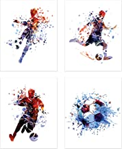 Summit Designs Soccer Watercolor Wall Art Prints - Particle Silhouette – Set of 4 (8x10) Poster Photos - Man Cave- Bedroom Decor