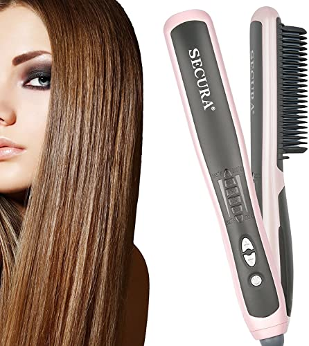 discount Secura Hair Straightener Comb outlet online sale with PTC Ceramic Heating Elements and 6 Levels of Temperature sale Control Hot Comb Hair Straightener outlet online sale
