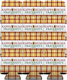 VictoryStore Can and Beverage Coolers - Kappa Sigma, Plaid Design, Set of 12