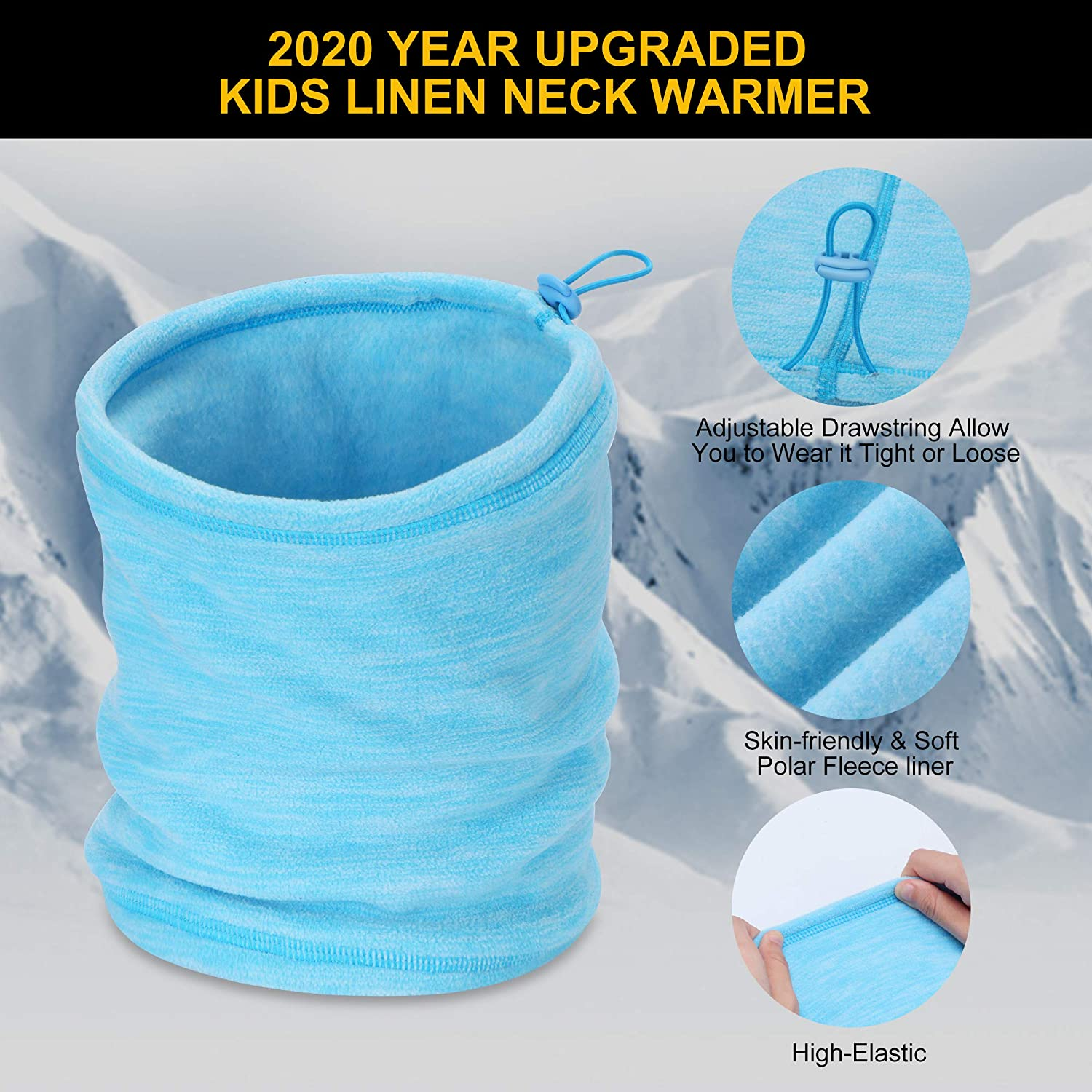 Double-Layer Thermal Fleece Neck Gaiter Kids Neck Warmer Winter Windproof Face Warmer for Boys//Girls Youth Age 3-8