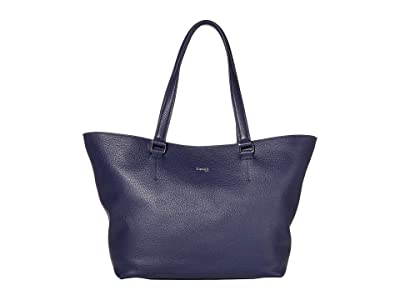 Lipault Paris Invitation Leather Tote Bag (Navy) Bags
