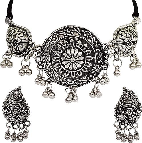 Oxidised Silver Designer Jewellery Choker Necklace Set for Women Girls