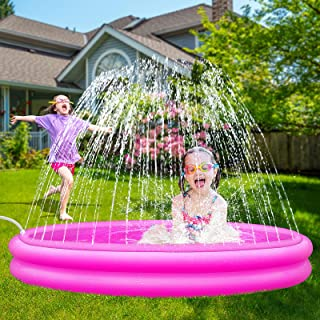 Inflatable Kiddie Pool, Sprinkler for Kids Baby Toddlers Outdoor Water Toys for 4-9 Year Old Boys, Kids Swimming Pool, Out...