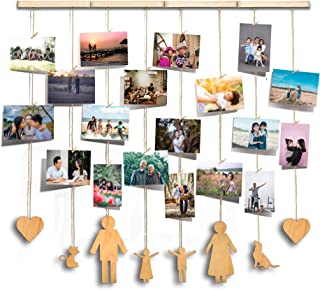 Bluedeco Hanging Photo Display Family Picture Frame Hanging Display Frame for Wall Decor Collage Picture Frame for Wall Hanging 30 Pegs for Mixed Size Picture