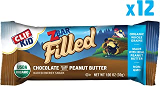 Clif Kid ZBAR Filled - Organic Granola Bars - Chocolate Peanut Butter - (1.06 Ounce Energy Bars, Kids Snacks, 12 Count)