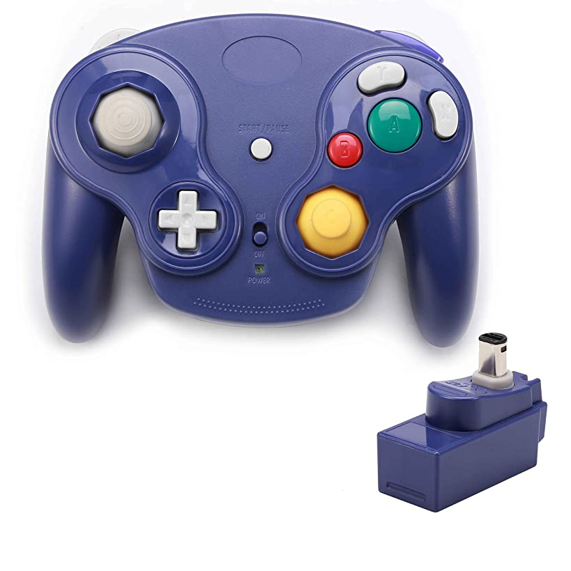 Poulep 1 Pack Classic 2.4G Wireless Controller Gamepad with Receiver Adapter for Nintendo Wii U Gamecube NGC GC Console (Purple)