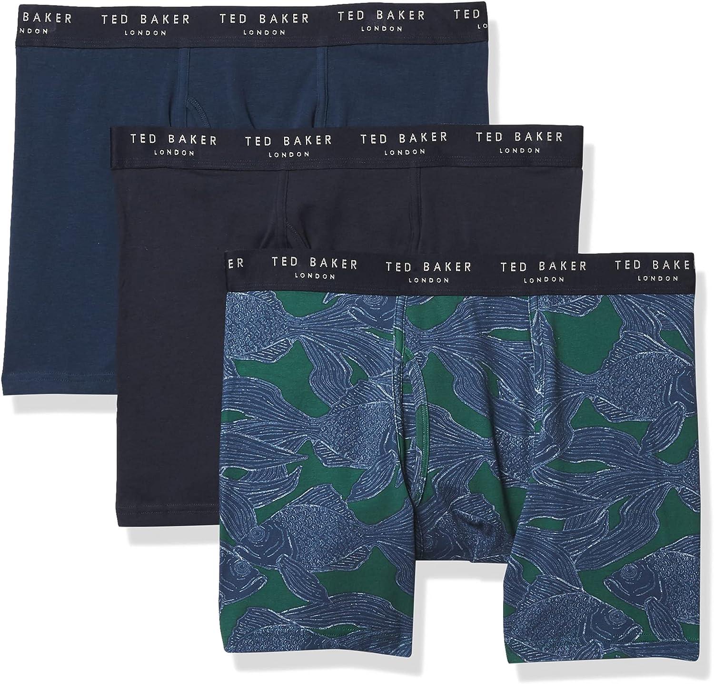 Ted Baker Men's Underwear Stretch Cotton Boxer Briefs, 3 Pack