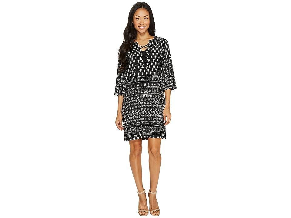 Karen Kane Lace-Up 3/4 Sleeve Dress (Print) Women