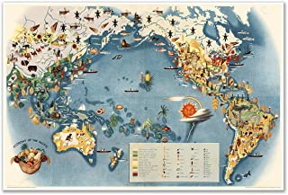 Antiguos Maps MAP of The World by Miguel Covarrubias Pageant of The Pacific Economy of The Pacific Circa 1940 - Measures 24