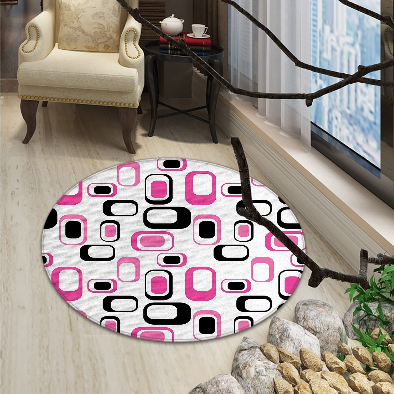 Geometric Round Rug Kid Carpet Sixties Ornamental Old Fashioned Shapes in Vintage Design Elements ImageOriental Floor and Carpets Pink White Black