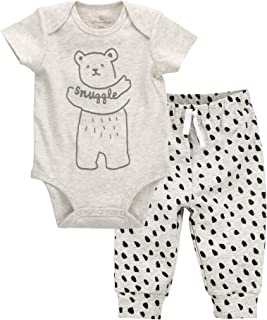 Organic Star Graphic Bodysuit and Mini Stripe Pants Outfit Set, Dark Heather Gray/Black, NB