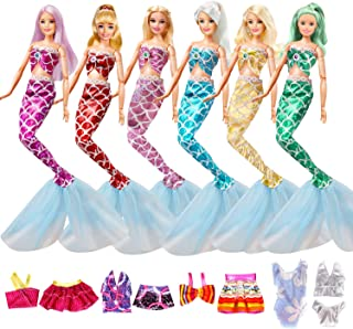 KYToy Girls Doll Clothes Dresses Including 6 Sets Colorful Mermaid Tail Outfit Dresses 5 Sets Random Bikini Swimwear Fits 11.5 Inch 12 Inch Fashionista Dolls Accessories