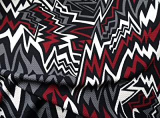 Swatch Sample Bullet Printed Liverpool Textured Fabric Stretch Abstract Chevron Gray Red FF33