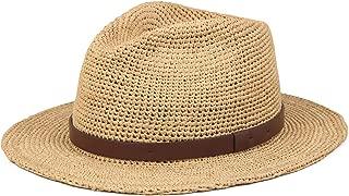 Unisex Summer Panama Raffia Straw Fedora Beach Adjustable Sun Hats UPF50 Mix Brown