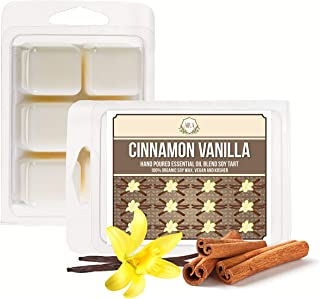 Aira Soy Wax Melt - Organic, Vegan, Kosher, Scented Soy Wax Cubes w/Essential Oil Blends - No Chemical 100% Soy Wax Melts for Tealight Melters - Hand-Poured Soy Tarts - Cinnamon Vanilla - 2 Pack