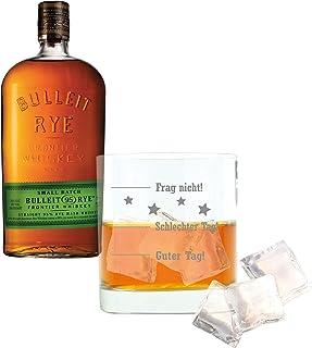 Bulleit Rye Frontier Whiskey Set mit Whiskyglas, Whisky, Alkohol, Alkoholgetränk, Flasche, 45%, 700 ml, 692952, Geschenk zum Vatertag, mit graviertem Glas